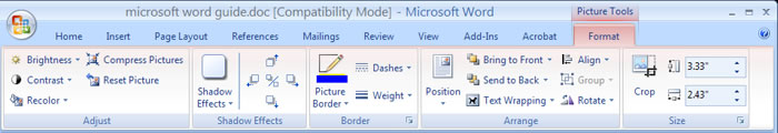 formatting options ms word 2007