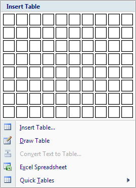 insert table in Word 2007