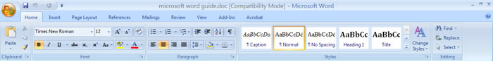 microsoft word 2007 interface