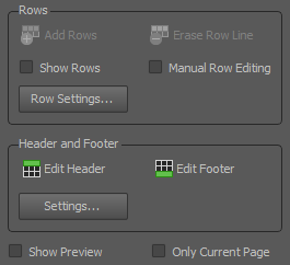 rows, header and footer settings