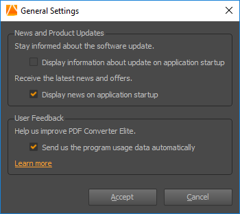 pdf converter elite 5 general settings dialog