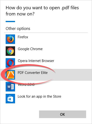 Set up PDF Converter Elite as Default PDF Reader