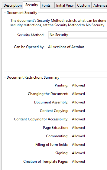 Acrobat PDF Security Properties