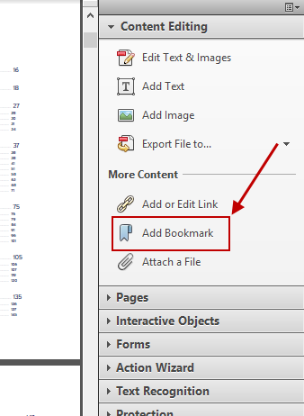 Acrobat Add Bookmark