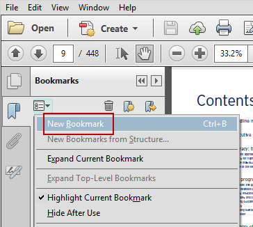Create New PDF Bookmark