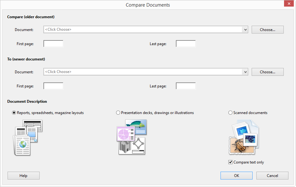 Compare PDF Documents Options