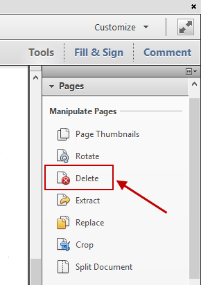 Acrobat Delete Pages Option