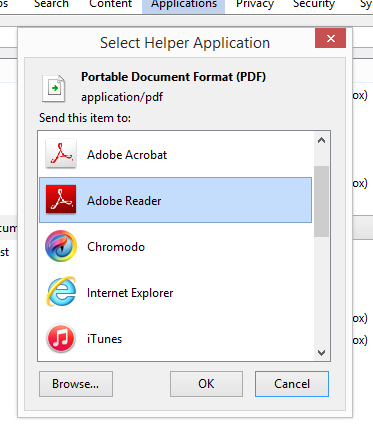 Adobe Reader as Helper Application