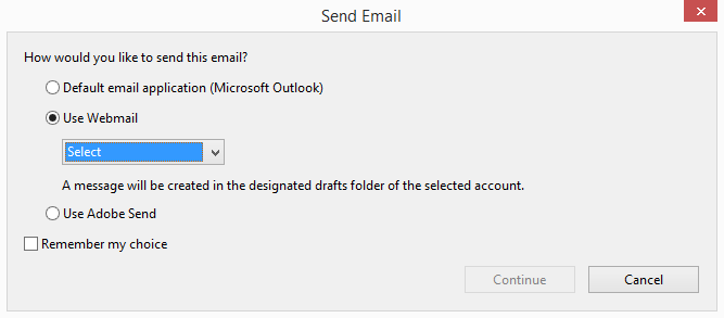 Adobe Reader Send Email Options