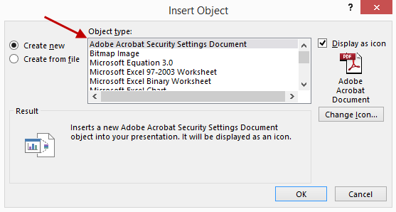 Insert Embed Object Dialog