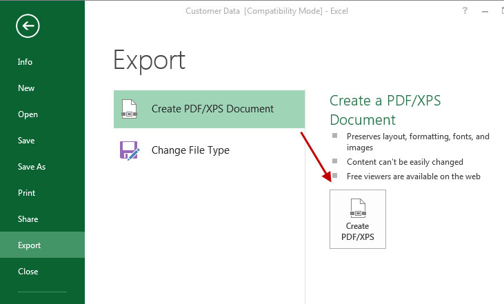 Export Create PDF document