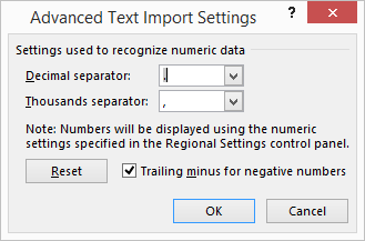 Advanced Text Import Settings