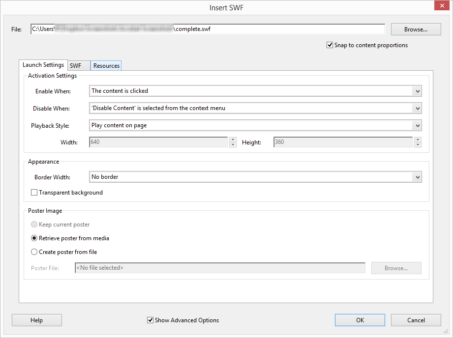 Acrobat SWF Launch Settings