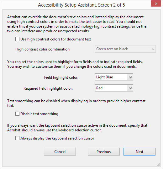 Acrobat Accessibility Visibility Options