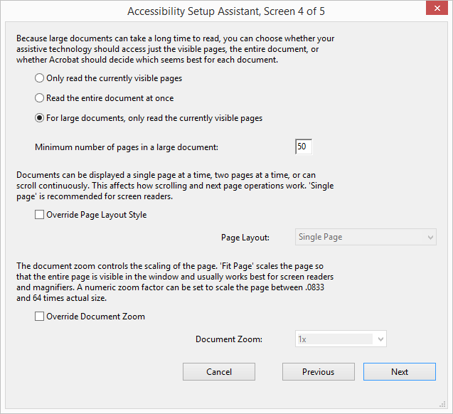 Acrobat Accessibility Page Viewing