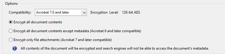 Acrobat Encryption Options