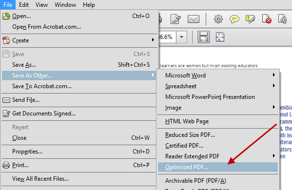 Acrobat Optimize PDF Option