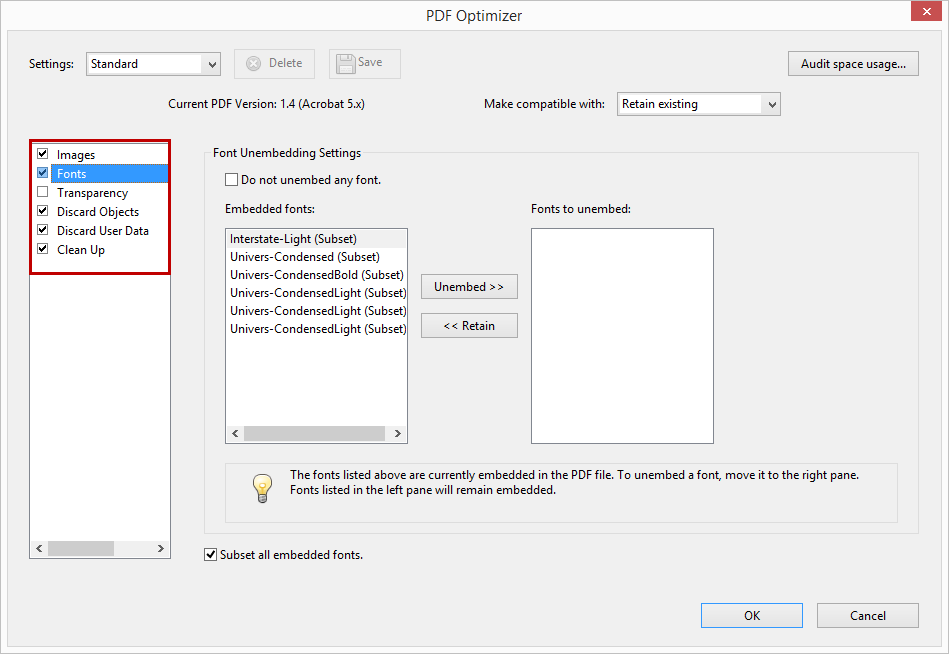 PDF Optimizer Dialog