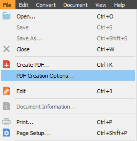 PDF Creation options