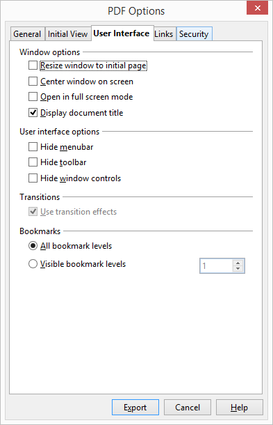 OpenOffice User Interface Options