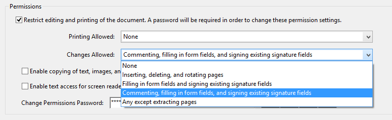 Acrobat Password Permissions