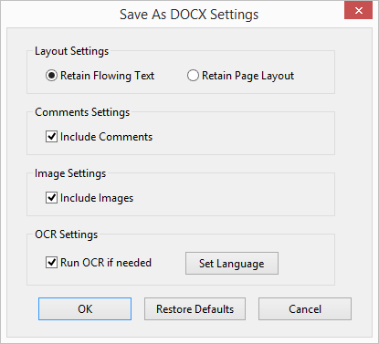 Save As Docx Options