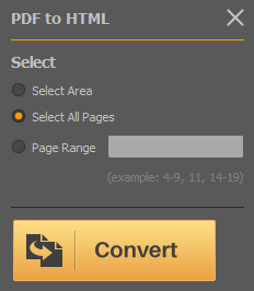 PDF Converter Elite convert to HTML button