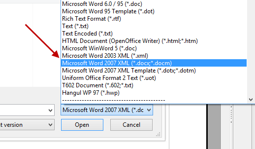 Select File Type