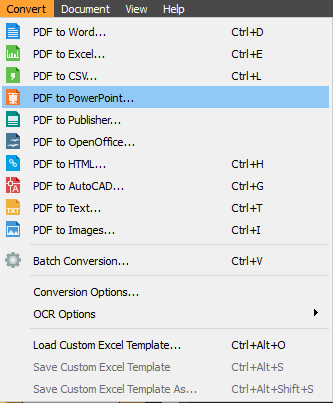 PDF to PowerPoint menu item