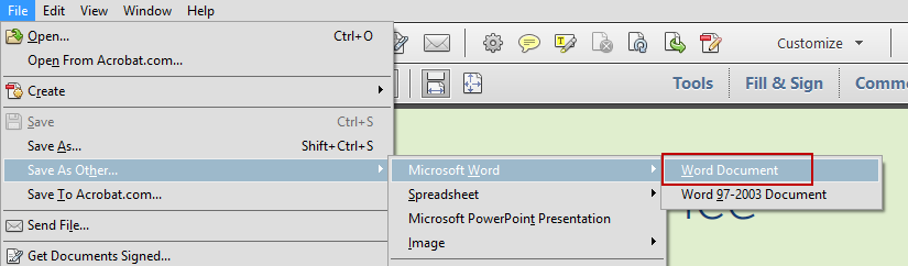 Acrobat Save As Word
