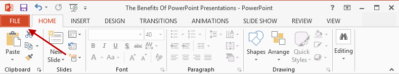 MS PowerPoint File Tab