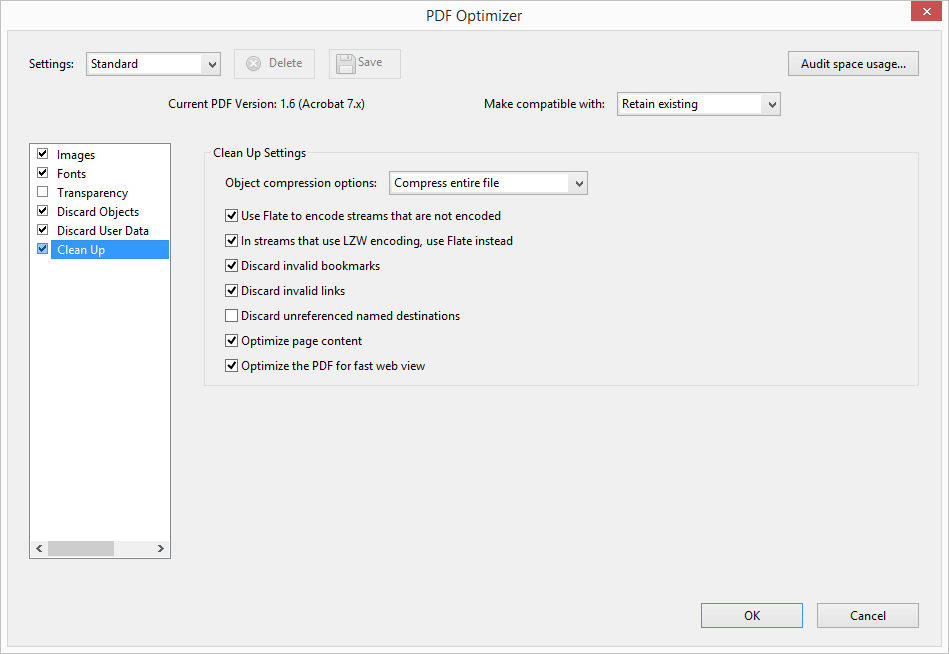 Acrobat PDF Optimizer Dialog