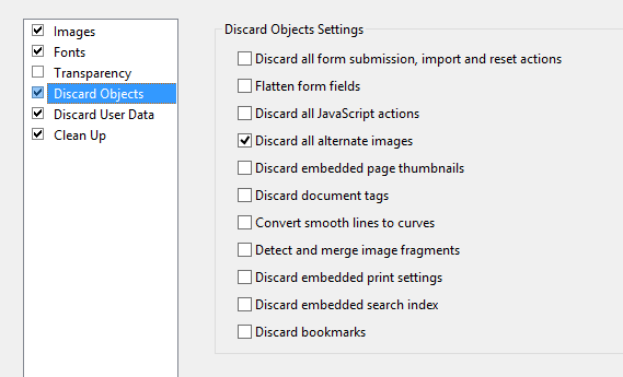 Acrobat Discard PDF Objects