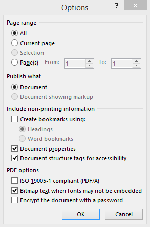 Office PDF Creation Options