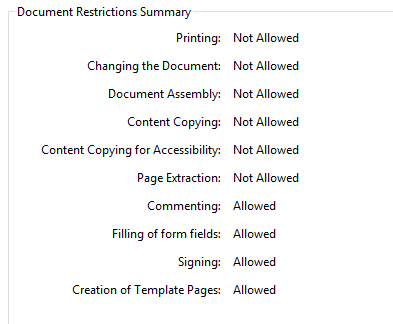 Acrobat Document Restrictions Summary