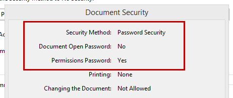 Acrobat Document Security Details