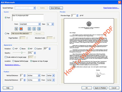how to put a watermark on pdf file