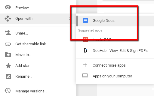 convert pdf to google docs