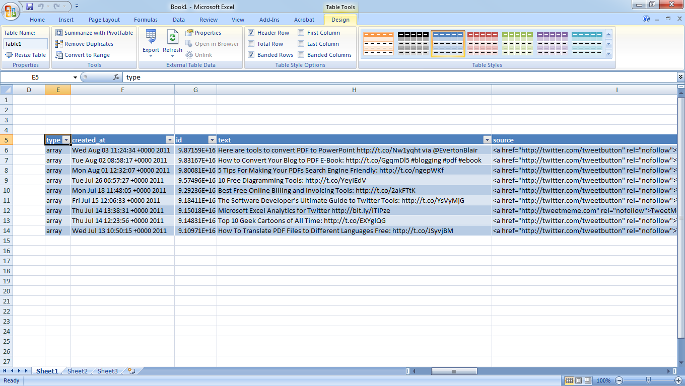 back up tweets in excel