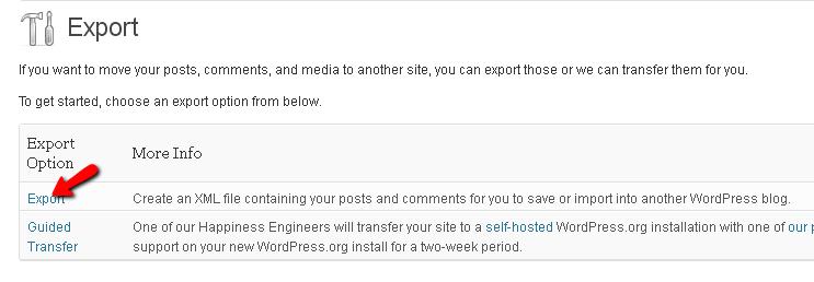 export wordpress blog