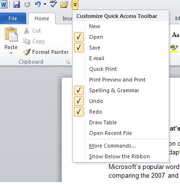 Customizable Quick Access Tool Bar and Ribbon Button in MS Word 2010