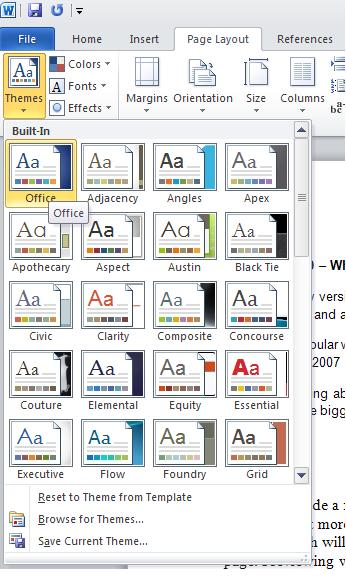 Themes in Microsoft Word 2010