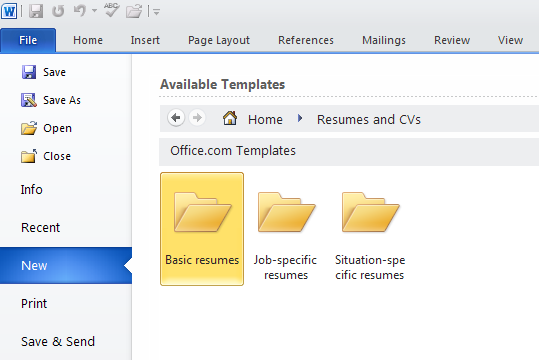 how to make a resume using microsoft word