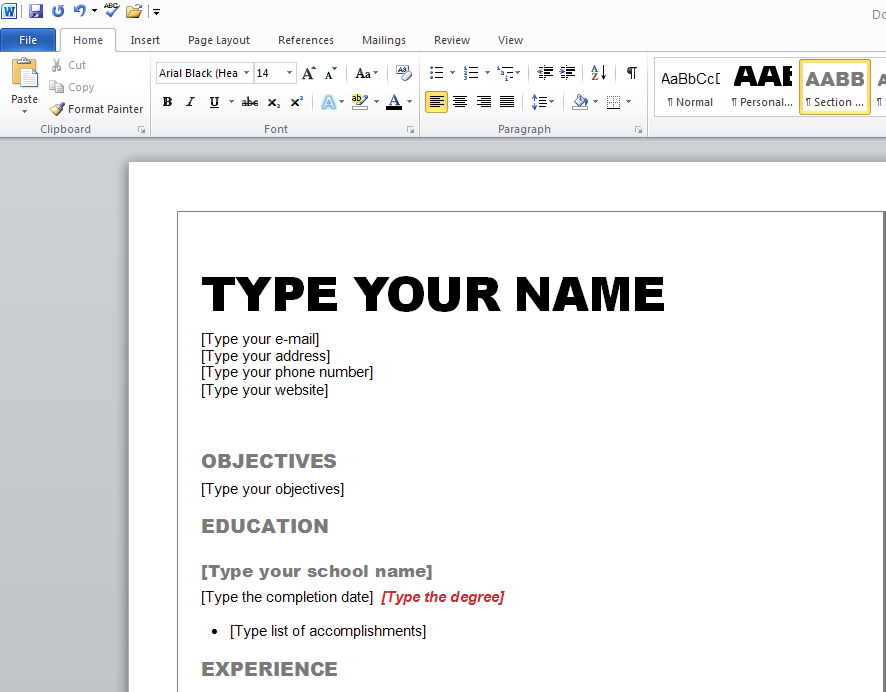 resume layout word 2010