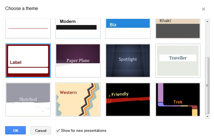 new themes in Google presentations