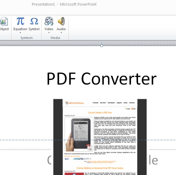 insert PDF in PowrPoint presentations