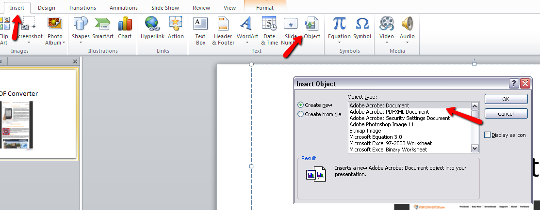embed PDF into PowerPoint 2010