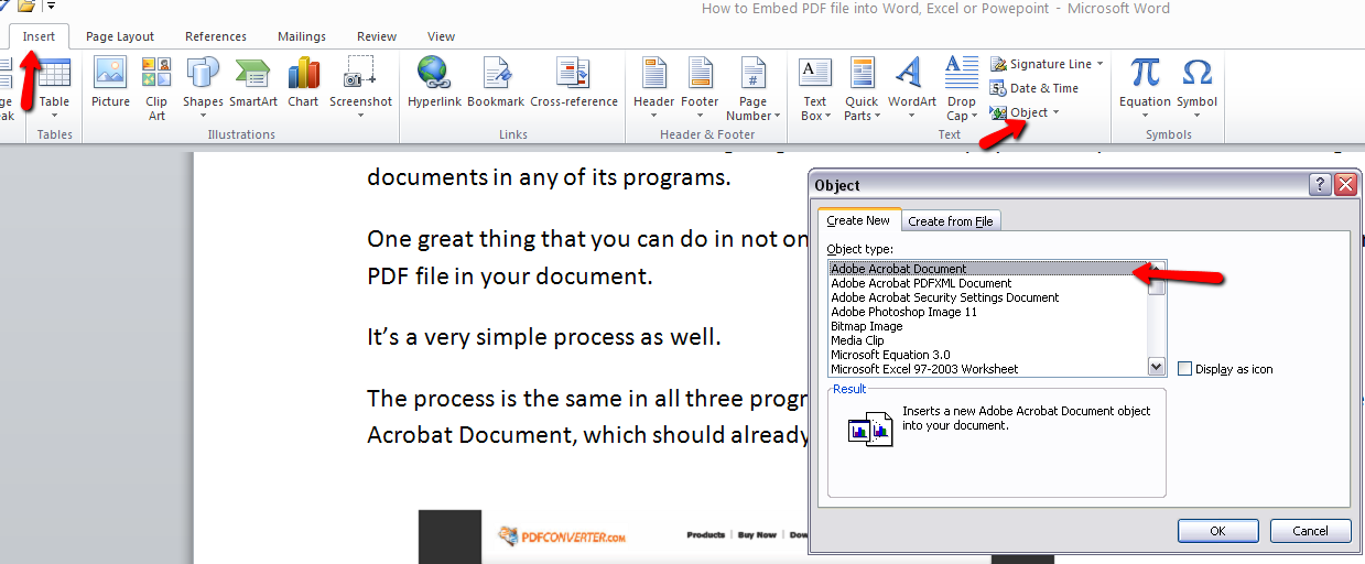 How to Embed PDFs into Word, Excel and PowerPoint 2010