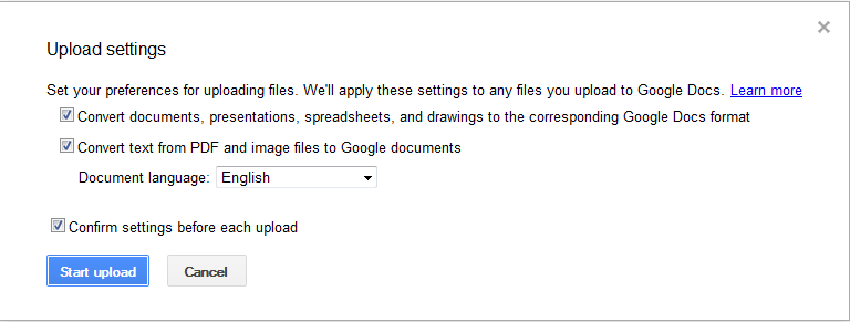 upload Word to Google docs