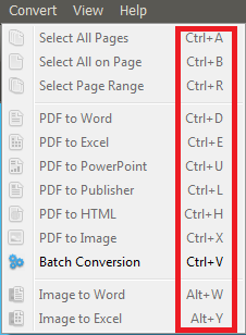 pdf converter elite shortcuts